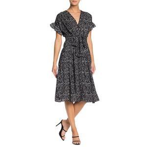 Max Studio / Black Floral Midi Dress NWT